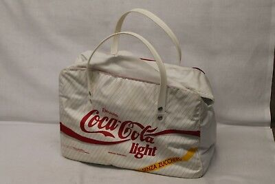 VTG Coca Cola Light Coke Mexico Cooler Carry Picnic Bag Tote Senza Zucchero WHT