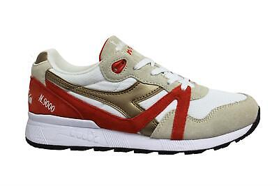 Diadora N9000 Spark White Gold Low Lace Up Mens Running Trainers C7943