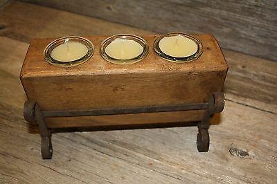 3 Hole Wooden Sugar Mold Wood Candle Holder Primitive Clear Glass Votives
