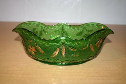 Emerald and Gold Large Oval Fruit Bowl US Glass Delaware Pattern
