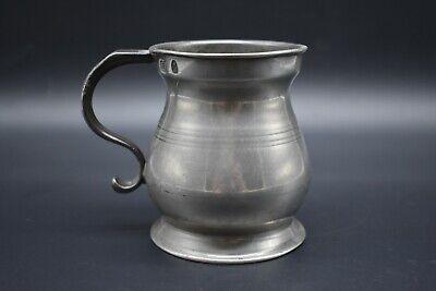 19th Century antique British pewter half pint tankard - made in Glasgow