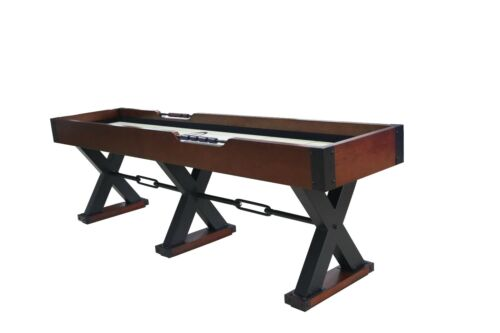 9 foot SHUFFLEBOARD TABLE THE X-TREME~BROWN w/ BLACK METAL LEGS~BERNER BILLIARDS