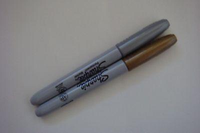 New Set Of 2 Metallic Gold Silver Sharpie Permanent Pens Free Ship