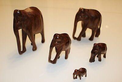 Holzelefantenfamilie handgeschnitzt 5 Stk.| 60er 70er True vintage | Teakholz