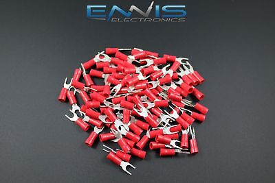 18-22 Gauge Vinyl Spade 8 Connector 50 Pk Red Crimp Terminal Awg Ga Car Suv