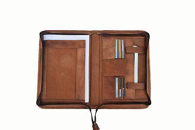 Vintage Leather Portfolio Padfolio Organizer Folder A4 Notepad Executive Zipper
