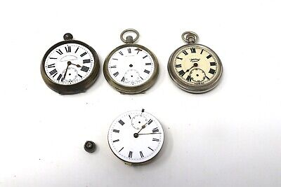 x4 Antique Vintage Top Key Wind Pocket Watch & Movement Spares The Masonic