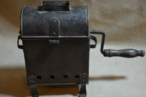 Antique Metal Cylindrical French Coffee Roaster
