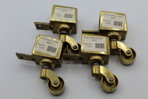 (4) VTG Brass Horizontal Casters Wheels Swivel Table Furniture Square Cup