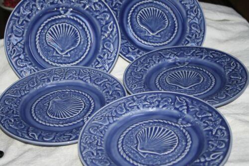 "BORDALLO PINHEIRO ""SEASHELL SERVICE BLUE"" SET OF (7) SALAD PLATES 8 1/4"""