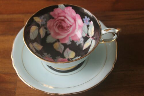 Paragon Black Cabbage pink Rose mint Green Teacup Tea cup Saucer