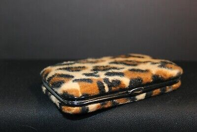 Business Card Holder - Metal Case Covered In Fuzzy Leopard Print Fabric