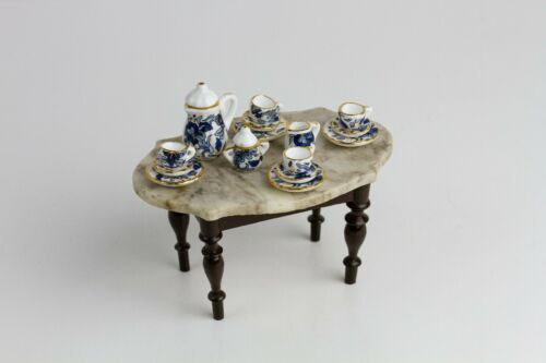Miniature Porcelain Tea Set Service for 4 - 1:12 Scale Dollhouse, Fairy Garden
