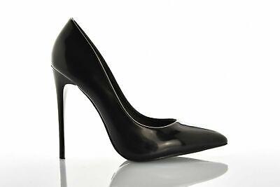 Scarpe Donna Decoltè Decollete alto vernice punta elegante tacco spillo 12 nero
