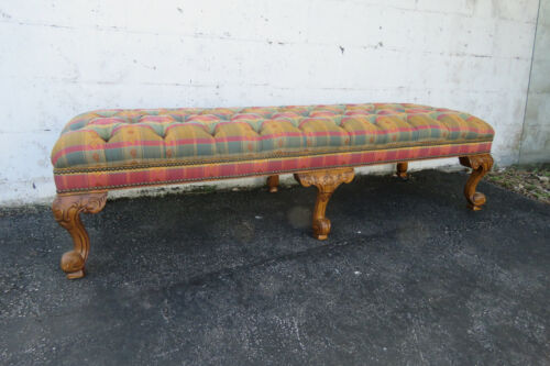French Carved Solid Cherry Vintage Long Bench 1090