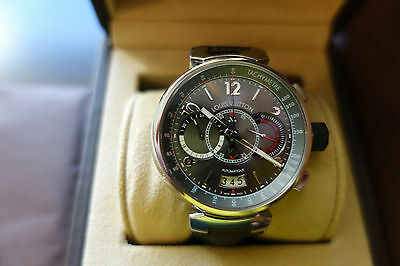 Louis Vuitton Tambour Voyagez Q102N Watch w/ Carbon Fiber Band, limited edition