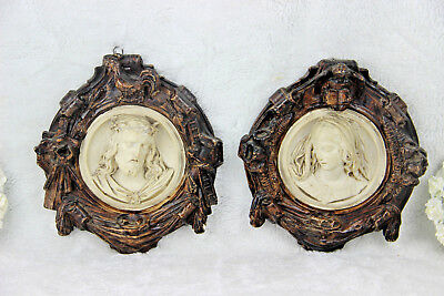 PAIR antique 1850 French religious wall plaques relief christ madonna putti