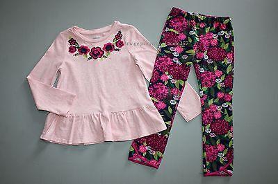 24 Gymboree Girls Size 4T Plum Pony Floral Pants Pink Ruffle Hem Top Shirt Set