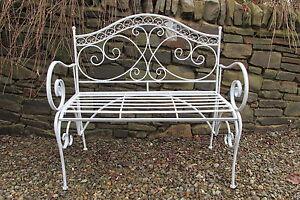 Folding Antique Grey 2 Seater Metal Garden Bench