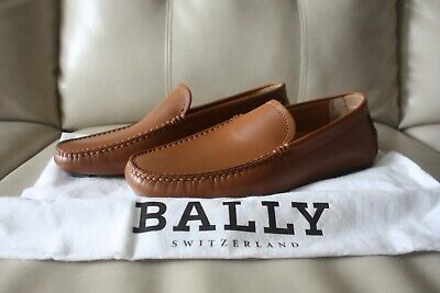 NIB Bally Walton Leather Driving Shoes Loafers US 7.5 | Rhum Calf Plain Italy Calf Leather Driving Shoes