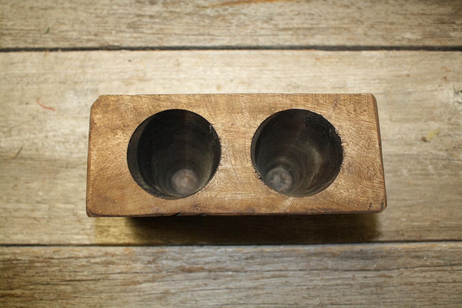 Lot of 20, 2 Hole Wooden Sugar Mold Wood Candle Holder Primitive