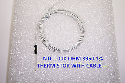2pcs Ntc Stable Thermistor 100k With 1m Cable Reprap Prusa Mendel Bed Or Hot End