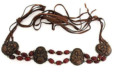 Krawatte Gürtel Mini (Damen Braun Stoff Gewickelt um Krawatte Böhmisch Ethnisch Look Gürtel Buddha)