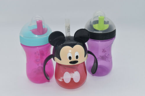 Toddler Training Cups(3): 2 Chico Sports and 1 Mickey Mouse *READ