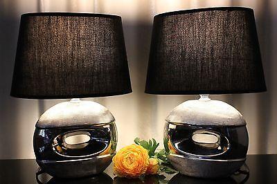 Schwarze Keramik Lampe (2 Lampen Nachttischlampen Tischleuchte Leuchte Tischlampe Keramik silber schwarz)