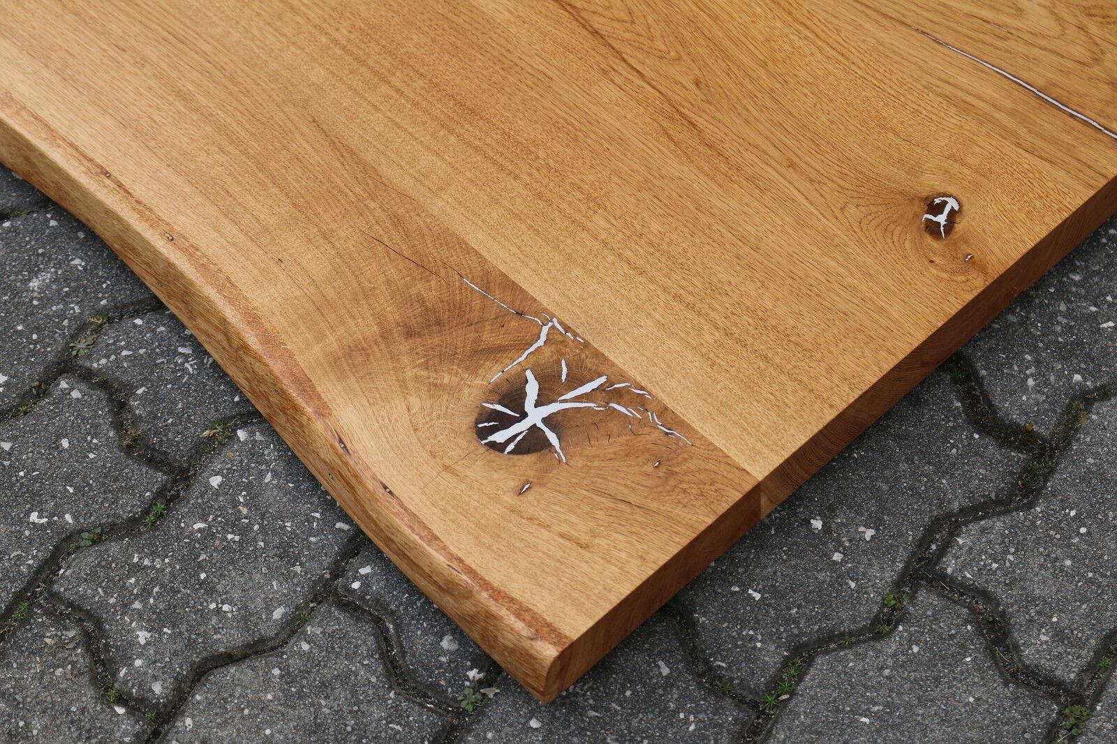 tischplatte platte eiche wild mit zinn massiv holz mit baumkante neu leimholz eur 900 00. Black Bedroom Furniture Sets. Home Design Ideas