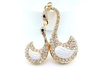 Gold Swan Bird Keychain Crystal Charm Animal Purse Gift Cute Accessory E32 - Bird Keychain