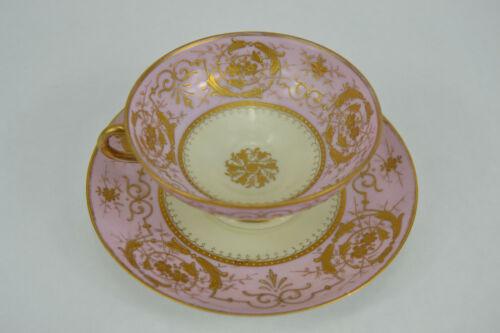 Antique Ovington Bros Austria Gold Encrusted Teacup & Saucer Gilt Mauve & Cream