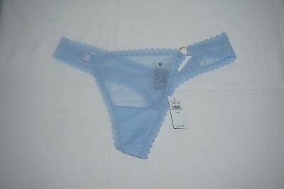 NWT AMERICAN EAGLE AERIE TIDAL BLUE LACE RING THONG MESH CASTAWAY PANTY SIZE M