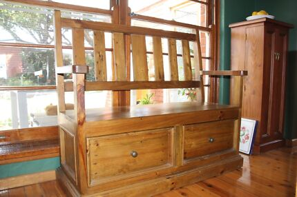 Country style pine bench seat with storage drawers. Kingsgrove Canterbury Area Preview