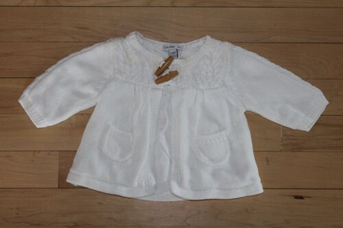 Baby Gap Girls White Cable Knit Button Toggle Sweater Cardigan Size 0-3 Months