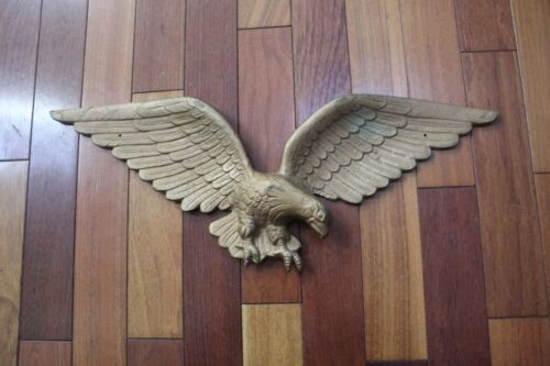 Vintage Brass Eagle Plaque Wall Hanging 24""