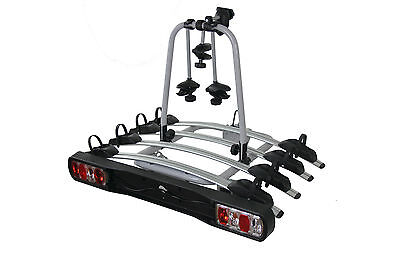 TOW BAR MOUNTED 4 BIKE RACK CYCLE CARRIER with LIGHTS and 7 pin ADAPTOR
