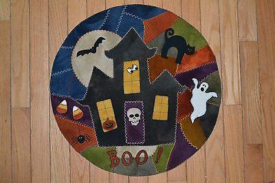 PRIMITIVE WOOL APPLIQUE PENNY RUG PATTERN HAUNTED HOUSE CAT BAT HALLOWEEN - Halloween Wool Applique Patterns