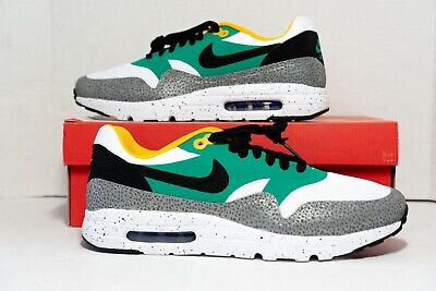 NIKE Men AIR MAX 1 ULTRA ESSENTIAL SHOES 819476-103 White Black Yellow Size 9.5