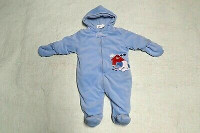 BON BEBE Baby Boy Infant Blue Velour Pram Snow Suit Size M 3-6 months 13-18 lbs., used for sale  Shipping to South Africa