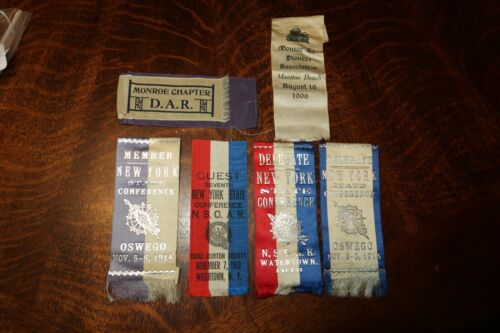 LOT OF Daughters Of The American Revolution Ribbons 1914 1913 AND OTHERS RIBBONS