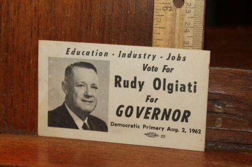 Election Card Rudy Olgiati Tennessee Governor 1962 Democrat