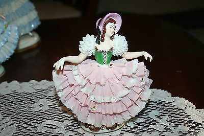 Vintage Dresden Lace Lady in Bonnet Figurines Made in Germany