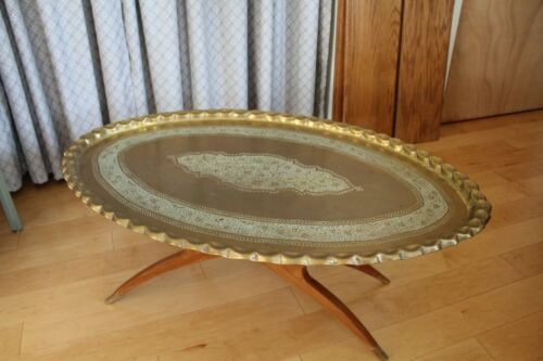 "Large Vintage Moroccan India Brass Oval Tray Table Wood Base - 45"" Wide!"