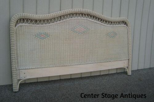 60837 HENRY LINK King Size Wicker Romantic Shabby Headboard Bed
