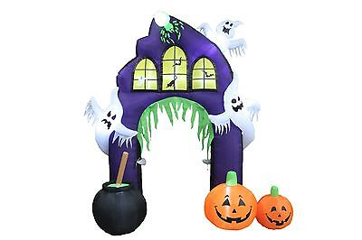 Halloween Air Blown Inflatable Yard Decoration Ghost Castle with Pumpkin Archway (Yard Inflatables Halloween)