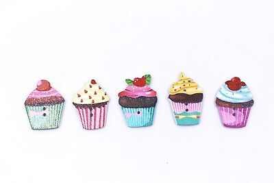 Cakes Wooden Buttons Colorful Cupcakes Two Holes Flat Children DIY 27mm 100pcs (Cupcake Costume Diy)