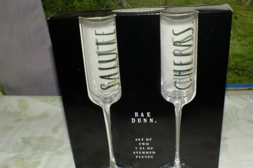 RAE DUNN GLASSES stemless FLUTES CHAMPAGNE FLUTES HIS HERS SALUTE CHEERS MORE