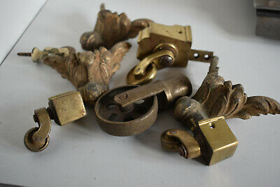 Selection Vintage brass castors and Pulleys