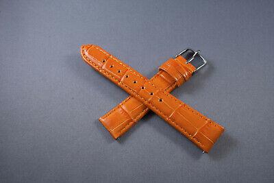 - 12mm 16mm 18mm 20mm 22mm Orange Genuine Leather Wrist Watch Aligator Straps Band